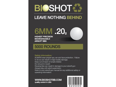 BioShot .20 High Precision Biodegradable BBs (5000rds White)
